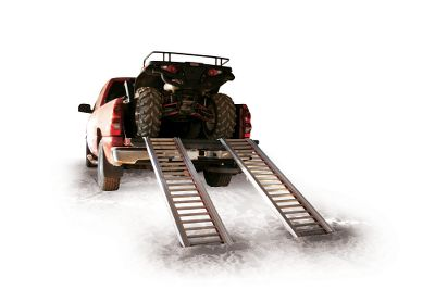 Motorsports These packable aircraft-grade aluminum ramps feature double-jointed technology for maximum convenience. Store them behind the seat in your truck, under your ATV/UTV or on your ATV/UTV. Simply unfold the ramps and they automatically lock in the open position for quick loading. The tight-gapped rungs and raised side rails are ideal for small-wheeled machines. Ramp weight: 20.8 lbs. each. Weight capacity: 2,000 lbs. Open dimensions: 76L x 15.3W x 3.8D. Folded dimensions: 51.5L x 5.25W x 5.75D. - $199.88