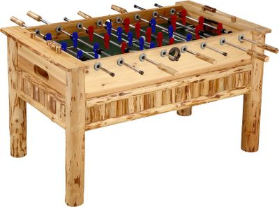 Entertainment A foosball table this good looking deserves front and center attention in your game room. Leg levelers keep the game steady, while hollow steel rods with wood handles keep the action intense. This handcrafted solid-pine table is protected by a scratch-resistant polyurethane finish.Dimensions: 57L x 32W x 36.5H. - $999.99