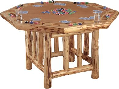 Entertainment Invite your buddies over and get your game face on for a fun-filled evening of poker. Handcrafted solid-pine construction protected by a scratch-resistant polyurethane finish. Seats eight comfortably. Padded play field. Each station has a drink and chip holder. Leg levelers. 30H x 48W. - $549.99