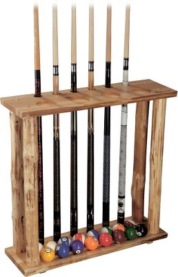 Entertainment Dont just store your pool cues. Show them off with this striking, handcrafted pine display rack. Holds a full set of balls. Built-in drink holders. Enriched and protected with a polyurethane skip-peel finish. Dimensions: 27H x 27W x 8.5D. Type: Cue Racks. - $79.99