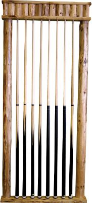Entertainment Dont just store your pool cues. Show them off with this striking, handcrafted pine display rack. Enriched and protected with a polyurethane skip-peel finish. Dimensions: 55H x 27W x 5D. Type: Cue Racks. - $99.99