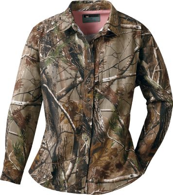 Hunting Tailored to deliver optimal performance and comfort, this shirt features a modern feminine cut. The medium-weight twill fabric is double-stitched for increased durability. Adjustable cuffs offer a custom fit. Zippered left chest pocket. 100% cotton. Imported.Center Back Length: MediumSizes: XS-2XL.Camo pattern: Realtree AP. - $29.88