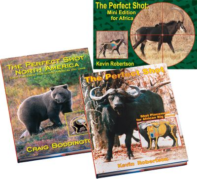 "Discover how to make accurate shots on game in the ""Perfect Shot Combo."" It includes these three books:In ""The Perfect Shot-Africa,"" you will learn the correct shot placement for African big game. Kevin Robertson, a professional hunter and veterinarian from Zimbabwe, has created the most comprehensive work ever to show the anatomical features for all classes of African game. 230 pages. ""The Perfect Shot North America"" covers acccurate shot placement on all North American big-game species. Written by Craig Boddington with illustrations by Laurie O'Keefe, this guide has instructions on placement from virtually every shot angle. Color and black-and-white illustrations. 215 pages. ""The Perfect Shot Mini Edition for Africa"" is a pocket-sized version of the The Perfect Shot. Written by Kevin Robertson, this is a must-have take-along item for any hunter traveling to Africa. It shows animal tracks and ghost views of vital areas. Color photos. Soft cover. 128 pages. - $99.99"