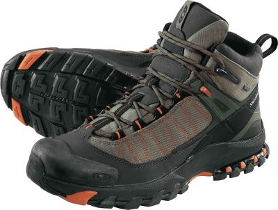 Camp and Hike With the bases of trailrunners and the uppers of lightweight hiking boots, the 3D Fastpacker Mid Hikers are excellent hiking shoes lightweight, stable and perfect for all-day fastpacking. The GORE-TEX Extended Comfort linings keep feet dry and happy on soggy days or while moving through spring snow patches. Lightweight OrthoLite sock liners manage moisture and provide antimicrobial protection while maintaining 95% of their thickness over time and wont wear out. Enjoy even further puddle protection with mudguards and nonmarking Contagrip outsoles with multidirectional lugs that provide excellent traction to keep you on your feet. Imported.Height: 6.Average weight: 2 lbs./pair.Mens sizes: 7-14 medium width. Half sizes to 13.Color: Swamp. - $89.99