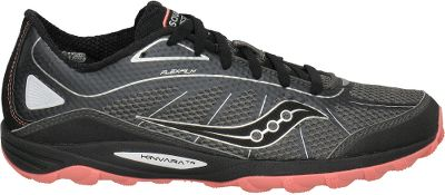 Fitness Run the road or dominate the trail, Saucony Kinvara running shoes seamlessly transition between hard, flat surfaces and loose, rocky terrain. Breathable mesh and Flexfilm uppers lock the feet into place throughout the gait cycle for sure-footed stability and comfort. Moisture-wicking HydraMAX collar linings and EVA sockliners add long-distance comfort. ProGrid heels, overall flexibility and a 4mm heel-to-toe offset provide the natural stride youre looking for. Ground-gripping, rubber Bedrock outsoles feature protective plates that shield the feet from jagged debris. Imported. Average weight: 7.7 oz./pair. Women's sizes: 6-10 medium width. Half sizes to 10. Colors: Black/Pink, Blue/Grey, Green/Yellow. - $99.99