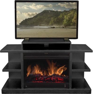 Entertainment This multifunctional electric fireplace is a beautiful and effective heater for your favorite living space and is a practical piece of furniture that serves as a media stand for your television. The premium black stained exterior surrounds a 23 electric heater that will heat a 400-square-foot space. The adjustable flame settings are controlled by remote. The heater is adjustable to between 750 to 1,500 watts. The realistic flame effect has all the personality of a woodburning fireplace without the muss and fuss of hauling wood in and ashes out, and keeps your air quality at its best. 5,100 BTU. Dimensions: 28H x 46W x 15D. - $449.99