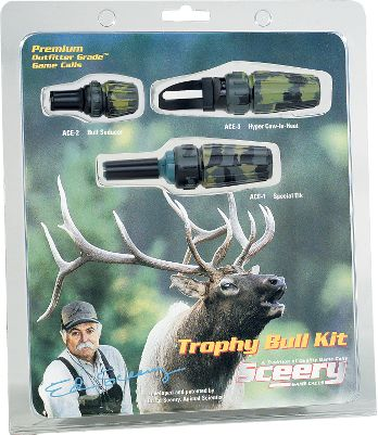 Hunting Sceery elk calls are exclusively used and recommended by top guides and outfitters. This kit includes the ACE-1 for super attractive cow and calf talking sounds, the ACE-2 hands-free bull coaxer, the super-hot ACE-3 hyper cow in heat call, and a 15-minute instructional video and lanyards. Game Call Type: Call Combos. Species: Elk. Type: Elk Calls. - $49.88