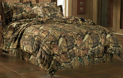 "Entertainment The natural contrast found in the woods comes to life in this bedding set. Get lost in the details of this realistic camo pattern. Comforter sets feature the natural 3-D world of Mossy Oak Break-Up Infinity . Each item in the set is made from 100% cotton with a 215-thread-count. Includes comforter, bed skirt and sham. Imported. Comforter sizes: Twin - 68"" x 90"" Full - 80"" x 90"" Queen - 92"" x 96"" King - 110"" x 90"" Bed Skirt sizes: 15"" drop Twin - 39"" x 75"" Full - 54"" x 75"" Queen - 60"" x 80"" King - 78"" x 80"" Sham size: Standard - 20"" x 26""Available: Twin, Full, Queen, King.Camo pattern: Mossy Oak Break-Up Infinity . - $169.99"