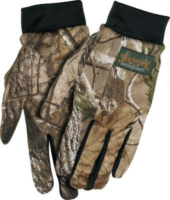 Hunting These scent-adsorbing gloves provide optimum dexterity thats ideal for bowhunters. Short wrist accommodates most release straps. Anti-slip palms offer exceptional control. Imported.Sizes: M-XL.Camo patterns: Realtree AP, Mossy Oak Break-Up Infinity. - $29.99