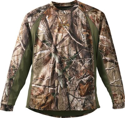 Hunting New athletic-cut design increases mobility and Carbon Alloy technology adsorbs a wider range of human odor, making this early-season favorite perform even better. This lightweight shirt features activated carbon and antimicrobial treatment to reduce odor. Moisture-wicking properties make it an ideal under layer, or wear alone during warm-weather hunts. Abrasion-resistant for long-term use. Imported.Camo pattern: Realtree AP. - $79.99