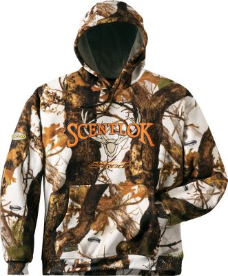 Hunting Scent-Lok activated-carbon powered technology fused inside a comfortable, 100% polyester microfleece hoodie. Kangaroo handwarmer pocket. Drawcord hood. Imported.Sizes: M-2XL. Camo pattern: Vertigo Grey. - $89.99
