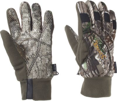 Hunting Waterproof gloves with articulated fingers that allow free movement. Fleece thumb doubles as a nose wipe. Forearm wrap creates a snug fit. Imported. Sizes: M-XL.Camo pattern: Realtree AP. - $22.88