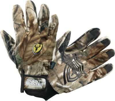 Hunting Complete your odor-control system with these gloves, featuring ScentBlocker SPF 50 activated carbon to adsorb odors. Innovative silicon gripping print on palms. Finger grip tips. Soft fleece for warmth without bulk. Imported.Sizes: M/L, XL/2XL.Camo patterns: Mossy Oak Break-Up Infinity, Realtree AP. - $34.99