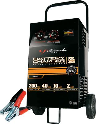 Motorsports Professional-grade charging and starting performance for you home. Features a multifunction tester for diagnosing electrical system issues and a voltmeter for battery testing. Tough metal case with easy-roll, wide-track wheels. 200-amp, 12-volt/100-amp 6-volt engine start for emergency starting. 40-amp rapid charge (charges a 6-volt or 12-volt battery in 1/2-1 hour. 10- amp fast charge (chargers a 10-volt battery in 3-5 hours). 2-amp slow charge (charges a small 12-volt battery in 2-12 hours). Manual operation. - $72.88