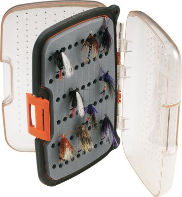 "Flyfishing Scientific Anglers, the leader in innovative fly-fishing products offers a series of waterproof boxes specially built for everything from tiny dry flies to large streamers. Each has an ergonomic design with single-hand closure. Clear lids allow you to see what's inside without opening. Slit foam ensures easy organization. Tough exterior shell stands up to drops on rocks. Removable center panel adds to capacity. Holds 116 large flies (sizes 3/0-2).Dimensions: 7-3/8"" x 5-1/2"" x 1-3/4"". - $32.95"