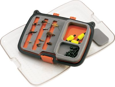 "Flyfishing Scientific Anglers, the leader in innovative fly-fishing products offers a series of waterproof boxes specially built for everything from tiny dry flies to large streamers. Each has an ergonomic design with single-hand closure. Clear lids allow you to see what's inside without opening. Slit foam ensures easy organization. Tough exterior shell stands up to drops on rocks. Removable center panel adds to capacity. Holds 210 medium flies (sizes 6-16). Dimensions: 6"" x 4"" x 1-1/2"". - $26.95"