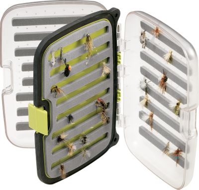 "Flyfishing Scientific Anglers, the leader in innovative fly-fishing products offers a series of waterproof boxes specially built for everything from tiny dry flies to large streamers. Each has an ergonomic design with single-hand closure. Clear lids allow you to see what's inside without opening. Slit foam ensures easy organization. Tough exterior shell stands up to drops on rocks. Removable center panel adds to capacity. Holds 752 medium/small flies (sizes 14-24). Dimensions: 6"" x 4"" x 1-1/2"". - $19.88"
