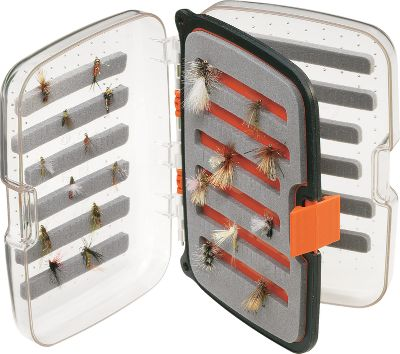 "Flyfishing Scientific Anglers, the leader in innovative fly-fishing products offers a series of waterproof boxes specially built for everything from tiny dry flies to large streamers. Each has an ergonomic design with single-hand closure. Clear lids allow you to see what's inside without opening. Slit foam ensures easy organization. Tough exterior shell stands up to drops on rocks. Removable center panel adds to capacity. Holds 432 small flies (sizes 14-26). Dimensions: 4-3/4"" x 3-1/2"" x 1-3/8"". - $17.88"