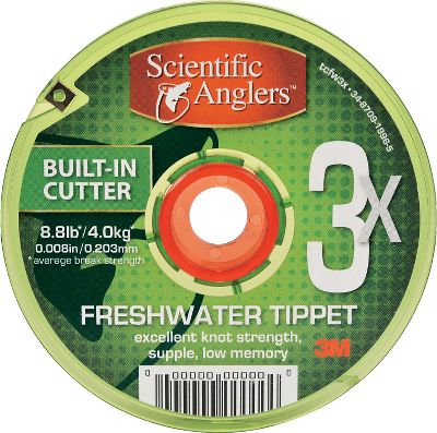 Flyfishing Changing or adding tippet just got easier. Scientific Anglers has redesigned their tippet spool, adding several features that you will appreciate for the convenience and ease of use. The spool now has a larger center dimension, so the tippet doesnt retain as much memory off the spool. Youll also like the freewheeling center hub that allows each spool to spin freely, even while integrated with other spools. This hub can be retracted to be flush with the spool when used alone, and still integrates with other spools on the market. The spool and water-resistant labels are color-coded to indicate the tippet material, with the freshwater label being green. The material size is clearly marked on the spool and on the elastic tippet-retaining band. While the spool is transparent so you can see with just a glance how much material is left, the spool itself is treated with UV protection to protect the tippet material from denigration. Add to all this a convenient integrated razor for cutting the material with an easy swipe. With a full 30 meters of material per spool you are getting approximately 9% more material than most comparably priced tippet. Available: 30 meters. Color: Green. - $3.88