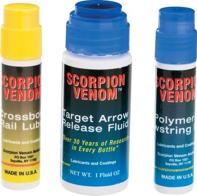 Hunting Waterproof and odor-free formulas that improve crossbow performance. Includes Target Arrow Release Fluid, Polymeric Bowstring Fluid and Crossbow Rail Lube. Color: Yellow. Type: Crossbow Lubes. - $30.99