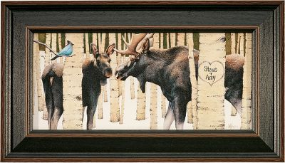 Hunting Visitors to your home will know that nature is an important part of your life when they are greeted by the Kennedy Personalized Moose Tracks print. Hand-personalized with a maximum of two lines, 10 characters per line. Prints are not framed behind glass. To ensure they retain their original colors, each is sealed with a UV-resistant coating. For indoor use only. Made in USA. Dimensions: Framed - 10 x 17.5. - $99.99