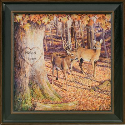Hunting Visitors to your home will know that nature is an important part of your life when they are greeted by the Kennedy Personalized Whitetail Sunrise print. Hand-personalized with a maximum of two lines, 11 characters per line. Prints are not framed behind glass. To ensure they retain their original colors, each is sealed with a UV-resistant coating. For indoor use only. Made in USA. Framed dimensions: 14 x 14. Color: Sunrise. - $99.99