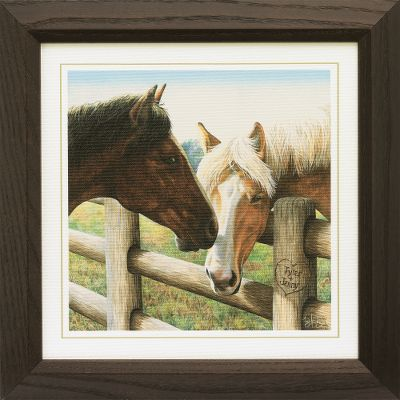 Entertainment Separated by a fence but joined by love, this Bay and Palomino share an eternal bond. Personalize this magnificently detailed print with the names or initials of you and your loved one, or your beloved horses. Personalize two rows with up to ten characters per row. Prints are not framed behind glass. To ensure they retain their original colors, each is sealed with a UV-resistant coating. Made in USA. Dimensions: Framed 13-3/4 x 13-3/4. - $99.99
