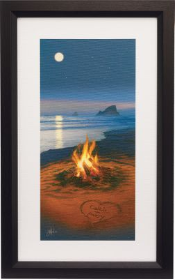 Enjoy the serenity of a calm sea and campfire on a beach below the beauty of a full moon on a clear evening. Personalize the heart in the foreground sand with the names or initials of your choice at no additional charge. Solid wood frame. Comes ready to hang with sawtooth hanger on the back. Prints are not framed behind glass. To ensure they retain their original colors, each is sealed with a UV-resistant coating. For indoor use. Allow up to two weeks for delivery. 15-14W x 24-14H. Made in USA. Color: Clear. - $119.99