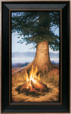 You can almost smell the campfire smoke and feel the radiant heat when you look at the Kennedy Personalized Evening Glow Campfire print. Hand-personalized with a maximum of two lines, 11 characters per line. Prints are not framed behind glass. To ensure they retain their original colors, each is sealed with a UV-resistant coating. For indoor use only. Dimensions: Framed - 10H x 17-1/2W. Color: Smoke. - $99.99