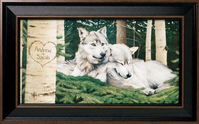 Visitors to your home will know that nature is an important part of your life when they are greeted by this stunning Kennedy Personalized Wolves print. For indoor use. Prints are not framed behind glass. To ensure they retain their original colors, each is sealed with a UV-resistant coating. Each print may be personalized with a maximum of two lines. Made in the USA. Dimensions: Framed- 10 x 17-1/2. Item note: This framed canvas-print does not have a glass cover. - $99.99