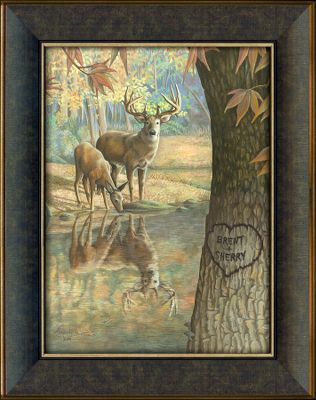 Hunting Visitors to your home will know that nature is an important part of your life when this natural scene greets them. This museum-quality canvas print is hand-personalized with the names or initials of your choice at no additional charge. The majestic scene features a whitetail buck and doe at a secluded, tranquil creek. Solid-wood frame. Comes ready to hang with a saw-tooth hanger on the back. Prints are not framed behind glass. To ensure they retain their original colors, each is sealed with a UV-resistant coating. For indoor use. Allow up to two weeks for delivery. Made in USA. Framed dimensions: 14-1/2 x 18. Color: Natural. - $79.99