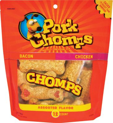 Hunting Great-tasting and easy to digest its no wonder dogs love Pork Chomps. They are made with crunchy pork skin and enhanced by intense flavor stripz in your choice of flavors. Nine out of ten dogs choose Pork Chomps over ordinary rawhide in independent taste testing. They eat them rather them leaving them around for you to pick up like rawhide. Per 12. Available: Crunchy Bones (Bacon/Chicken flavor), Knotz/Rollz (Bacon/Chicken/Roasted), Twistz (Roasted/Bacon/Chicken). Color: Assorted. - $6.88