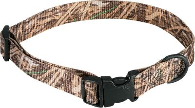 Hunting These camo dog collars are made from 4,700-pound break strength, 100% polyester and are stitched with nylon thread. They are 1 wide and adjustable. Quick-release buckle.Sizes:Large - Adjusts from 12 to 18X-Large - Adjusts from 18 to 26.Camo patterns: Realtree MAX-4, Mossy Oak New Shadow Grass. Type: Collars, Leads & Leashes. Size X-Large. Color Adv Max4. - $12.99