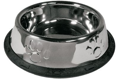 Hunting Put an end to messy floors caused by spilled dog food and water with these handy no-flip bowls. The wide, rubber-edged nonskid base keeps the bowl securely in place. Each is made of heavy-duty stainless steel with a high-gloss finish, so theyre easy to clean and resistant to rust, scratches and bacteria.Sizes: 32 oz., 64 oz. Size: 32 OZ. Color: Stainless. Type: Dog Bowls. - $11.99