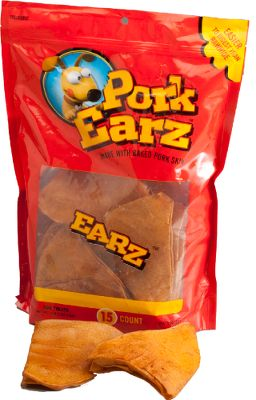 Hunting Healthier than traditional pig ears, these Pork Earz are made of pressed, oven-roasted pig skin. They're highly digestible and offer a natural pork taste dogs can't resist. 15 pieces per 1-lb. bag. - $16.99