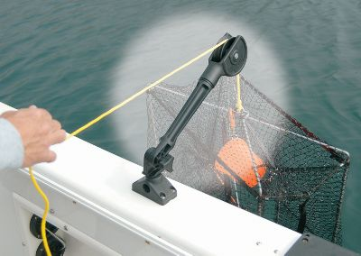 Fishing Bring your crab traps up into the boat quickly and easily using this pulley system. Attaches to the base of a Cabela's Quick Draw Rod Holder. Angles are adjustable to achieve the best possible leverage. Gender: Male. Age Group: Adult. - $39.99