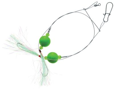 Fishing Double-drop rig is tied with 40-lb. nylon-coated wire. Two fluorescent floats, swivels, sinker attachment links and plated hooks. Imported. Per each. Colors: (538)Green, (539)Pink. Size: GREEN FLOAT. Color: Green. Type: Bait Rigs. - $2.49