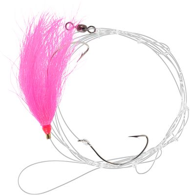 Fishing Convenient, pre-tied fluke hi-lo rigs with a 2/0 widegap Mustad hook. Bucktail skirt. Per each. Colors: (001)Pink, (002)White, (004)Chartreuse. Color: Chartreuse. Type: Bait Rigs. - $2.99