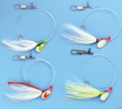 Fishing The Fluke Rig is an Eastern-shore favorite for flounder. The 32 , 40-pound rig has a spinner blade, bucktail teaser and a 1/0 nickel-plated hook. Three-way swivel at the top with snap for sinker attachment. Per 5. Colors: (881)White/Silver/Chartreuse, (037)White/Silver, (011)White/Red, (029)Chartreuse/Silver. Color: White. Type: Bait Rigs. - $8.99