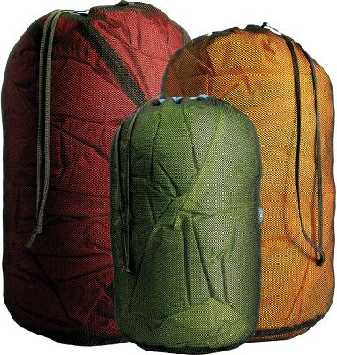 Camp and Hike Black mesh with pull handle. Sea to Summit Mesh Stuff sacks have a separate channel for the drawcord sewn on to the top of the sack with the cord exit on the other side of the sack from the main seam. Result no stress on the seam, no failures. Drawcord top. Imported. Sizes: S (6-1/2 x 13 430 cu. in.) M (7 x 15 580 cu. in.) L (8-1/2 x 17 960 cu. in.) XL (9-1/2 x 20 1400 cu. in.) Color: Black. - $11.95