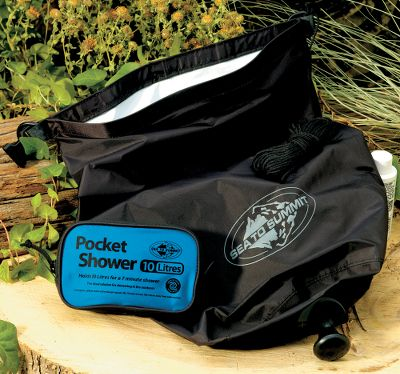 Camp and Hike Pack and carry this featherlight shower on your next outdoor adventure. Fill the sun-absorbing, black-nylon tank with 2.6 gallons of water and hang the unit using the two Delrin D-rings. At full flow, the twist-spout showerhead offers an approximate 7-minute shower. Made of black, heat-resistant waterproof fabric. Packs down to 3 x 6. 20-ft. cord included. Imported. Weight: 4-1/4 oz. Color: Black. - $32.99