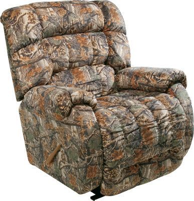 Entertainment More room, more cushioning, more comfort! Our Beast Camouflage Recliners super-roomy dimensions make this easy chair perfect for anyone who wants a bit more relaxation room. Hardwood frame and bar-coil spring system support up to 400 lbs. The heavy-duty 7-ga. steel footrest mechanism stretches the chair out to a generous 83. Soft microfiber upholstery resists wear and cleans easily with water. Made in USA. 49L x 46W x 47-1/2D. Camo patterns: Cabelas Seclusion 3D, Mossy Oak Break-Up, Realtree AP. Color: Realtree Ap. - $699.99