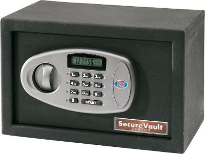 "Hunting Keep handguns or important personal belongings out of the hands of thieves and children with this secure Medium Electronic Vault. Features high-tech digital LED locking system with secure steel cross-bolt. Lock is tamper-resistant with incorrect entry lockout and hidden commercial cylinder key override. The door is heavy, 11-gauge steel, while the body is 4-gauge steel. The entire vault has a powder-coated finish and it mounts easily. This model has an additional 6-3/4"" x 13-1/4"" shelf.Measurements: 13-3/4""L x 10""H x 10""W. - $82.99"