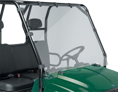 Motorsports Made of high-impact, shatter-resistant acrylic. Mule windshield is hinged to give access to front storage; others are one piece. Easy to install and remove. Complete mounting hardware and instructions included. Available for:Polaris RangerYamaha RhinoKawasaki Mule 3000Kubota RTVArctic Cat ProwlerMule 600/610GatorNote: This is not designed for trailering at highway speeds. Type: UTV Windshield. Make/Model: Yamaha Rhino. Rhino. - $199.99