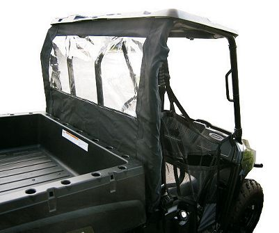 Motorsports A great addition to UTVs with windshields and aftermarket hardtops, this dust panel prevents wind, rain and dust from invading the cab from behind. Made of heavy-duty, UV-resistant nylon with a waterproof PVC coating. Easy installation requires no tools, drilling or adhesive. Imported. Available: Polaris RZR Fits all Polaris RZRs. Full-Size Fits all full-size Polaris Rangers. Mid-Size Fits all mid-size Polaris Rangers. Type: Dust Panel. Year/Make Mid Size. - $129.99