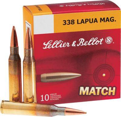 Hunting Sellier Bellot has been providing shooters with value-priced performance ammunition for more than 180 years, and these .338 Lapua cartridges carry on that legacy. Youll enjoy shooting your .338 even more knowing that youre getting great performance at value pricing. Loaded with 250-grain match-grade hollow-point bullets that are highly accurate with high ballistic coefficients for long-range precision. 10 rounds per box. - $35.99