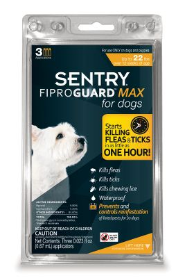 Hunting Sentry FiproGuard Max not only protects your dog from fleas, ticks and chewing lice, but it also controls mites that can cause sarcoptic mange. The key ingredient, fipronil, is present in a maximized formula that kills both fleas and ticks in as little as one hour and kills new adult fleas before they lay eggs. This prevents reinfestation for 30 days. It also kills deer ticks that can cause Lyme disease, along with brown dog ticks, American dog ticks and lone star ticks. This convenient, easy, monthly treatment is also waterproof. Each box contains three, squeeze-on 30-day applications. Made in USA. Available: Up to 22 lbs. dog 23-44 lbs. dog 45-88 lbs. dog 89-132 lbs. dog Size: 1-22LB 3CT. Color: Brown. - $35.88