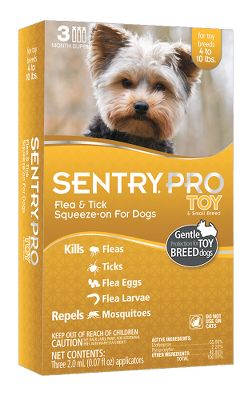 Hunting This Sentry Pro formula offers gentle protection from fleas for your small and toy breed dogs. Your dogs are protected from flea eggs and larvae for up to nine weeks. Going somewhere? Not a problem -- bathe your dogs as early as 24 hours after application. Apply monthly for best pest-control results. Each package contains three months of protection for one dog. Available: Toy-Small Breed Dogs, 4-10 lbs. - $9.88