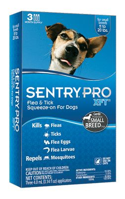 Hunting Sentry Pro XFT formulas kill fleas in as little as one hour and ticks in as little as three hours. Your dog is also protected from flea eggs and larvae for up to nine weeks. Going somewhere? Not a problem bathe your dog as early as 24 hours after application. Apply monthly for best pest-control results. Each package contains three months of protection for your dog. Available: 11-20 lbs. dog 21-39 lbs. dog 40-60 lbs. dog Over 60 lbs. dog Size: 21-39 LB. - $7.88