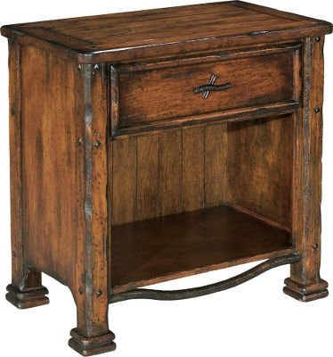 Entertainment The Teton Pines collection is a unique union of pine and distressed wrought iron with a pastoral, Highland finish. This nightstand is built using solid pine, and has a single top drawer with an enclosed lower shelf. The lined drawer is completed with a hand-cast iron twig handle, and supported by English dovetail joints, waxed, wood-on-wood glides and a dust shelf. A convex iron branch trims the bottom of the shelf, and diamond rivets add even more to the distressed and rustic feel. Coordinating bedroom furniture is available in this collection.Dimensions: 31H x 30W x 18D. - $619.99